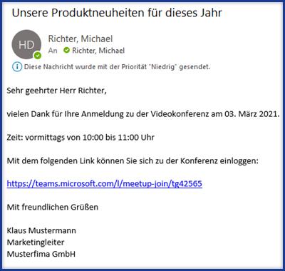 E-Mail an Teilnehmer mit Link zur Konferenz