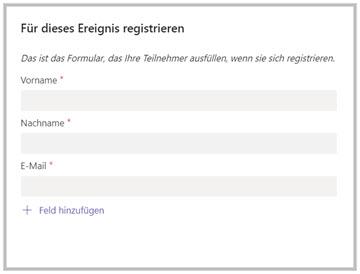 Pflichtfelder bei der Anmeldung zu einem Webinar
