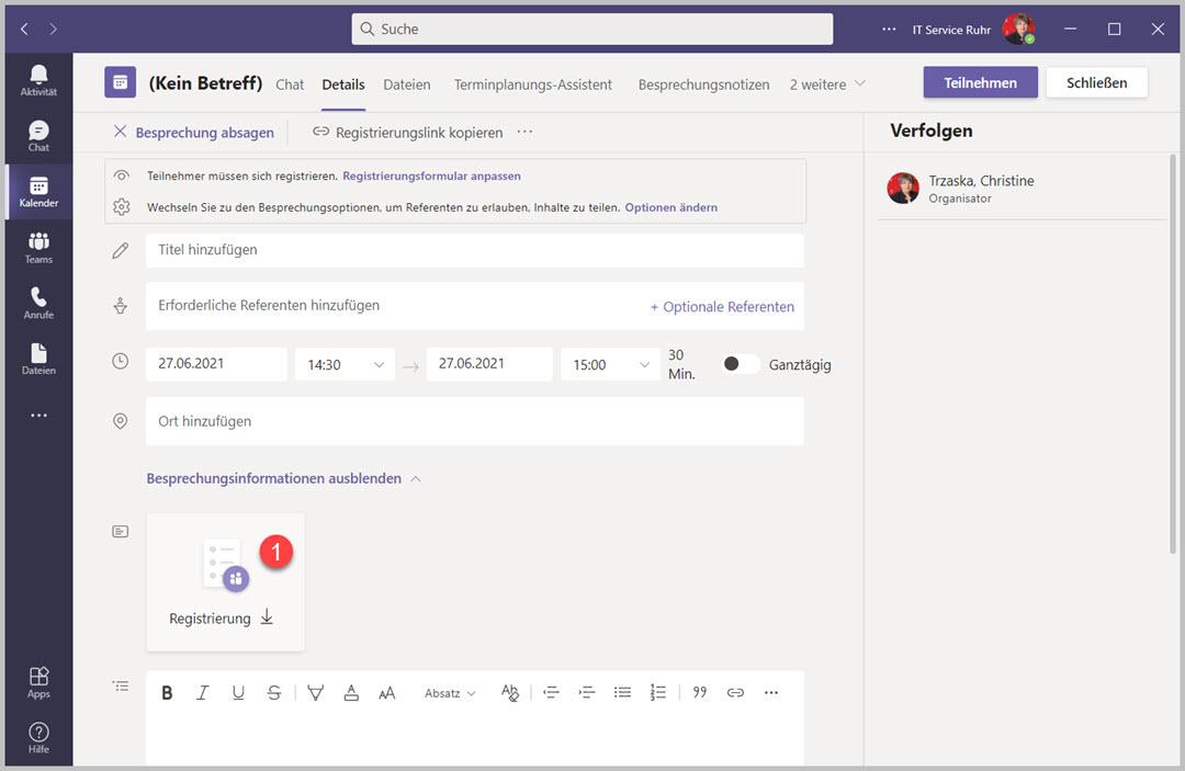 Registrierungen bei einem Teams Webinar