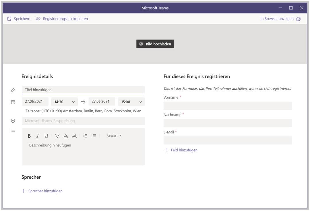 Registrierungsseite für eine Teams Webinar erstellen