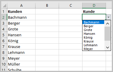 Auswahl eines Kunden aus Liste