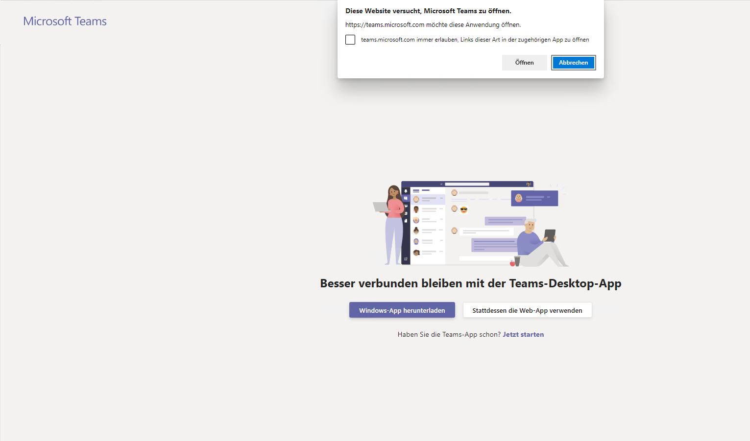 Teams aus dem Browser öffnen