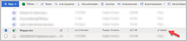 Dateien gemeinsam Bearbeiten Status